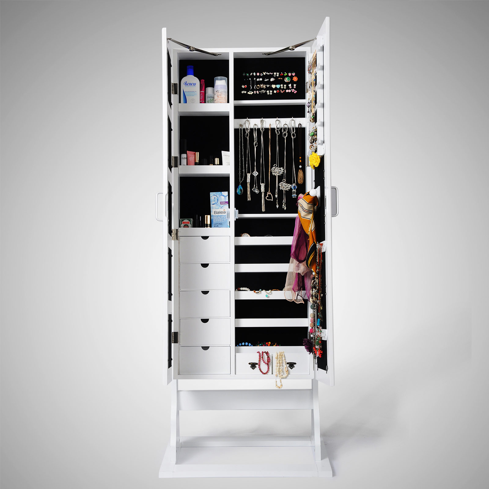schmuckschrank standspiegel spiegelschrank schmuckkasten weiss schwarz neu 183 ebay. Black Bedroom Furniture Sets. Home Design Ideas