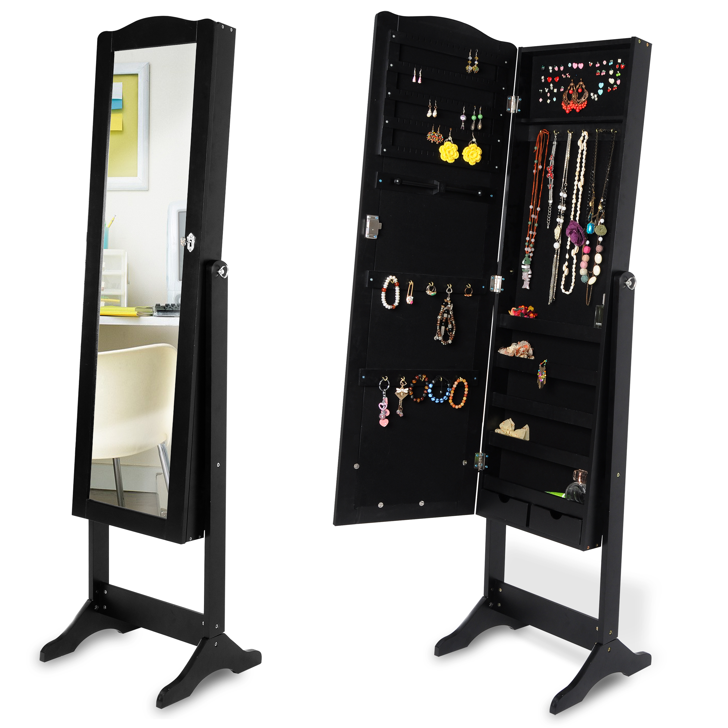 schmuckschrank standspiegel schmuckkasten spiegelschrank. Black Bedroom Furniture Sets. Home Design Ideas