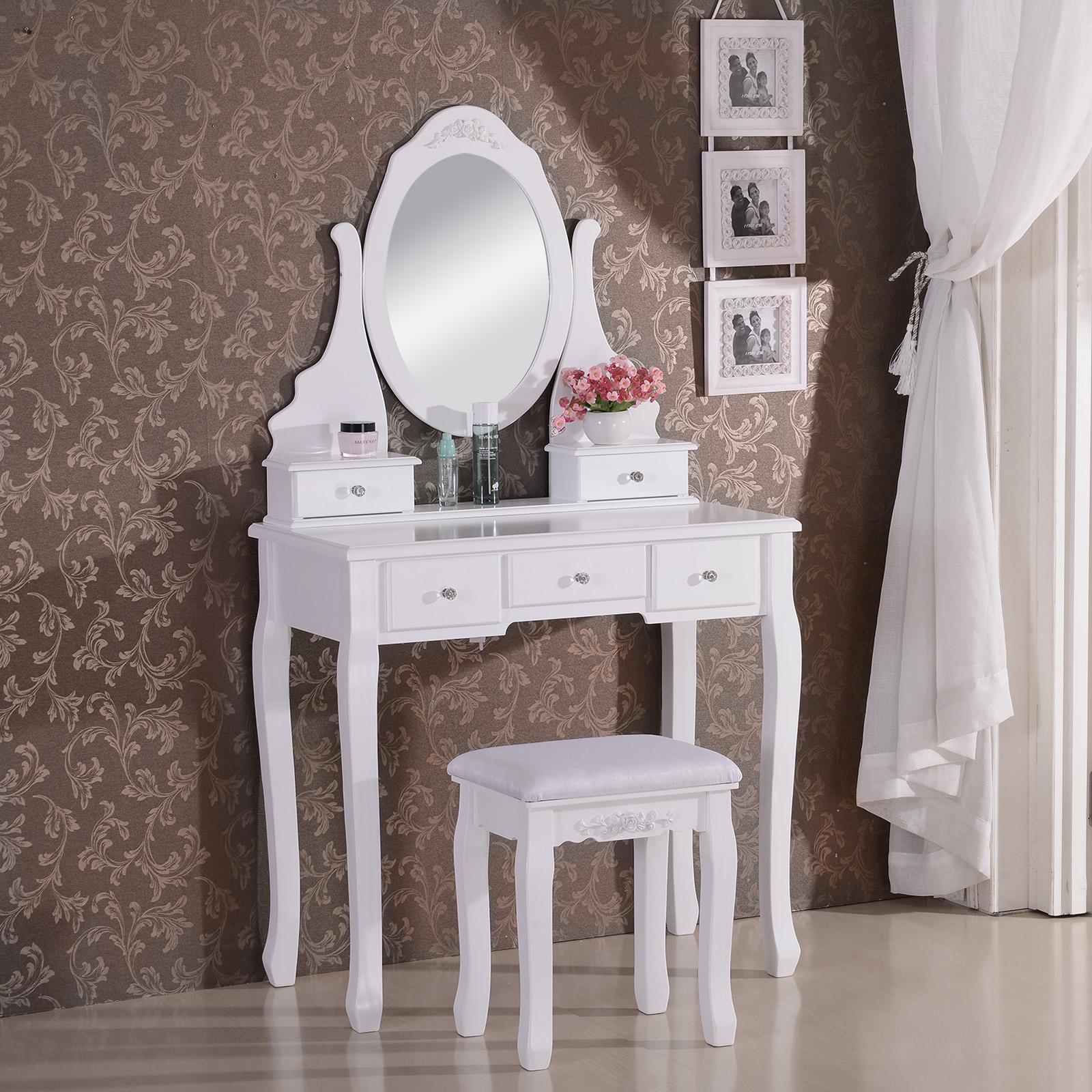 schminktisch kosmetiktisch frisiertisch mit spiegel hocker tisch weiss mb6022cm ebay. Black Bedroom Furniture Sets. Home Design Ideas