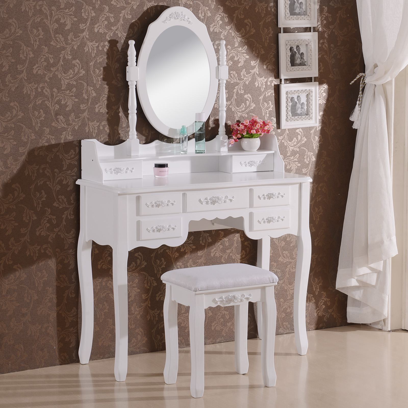 coiffeuse table de maquillage avec miroir et tabouret 6. Black Bedroom Furniture Sets. Home Design Ideas