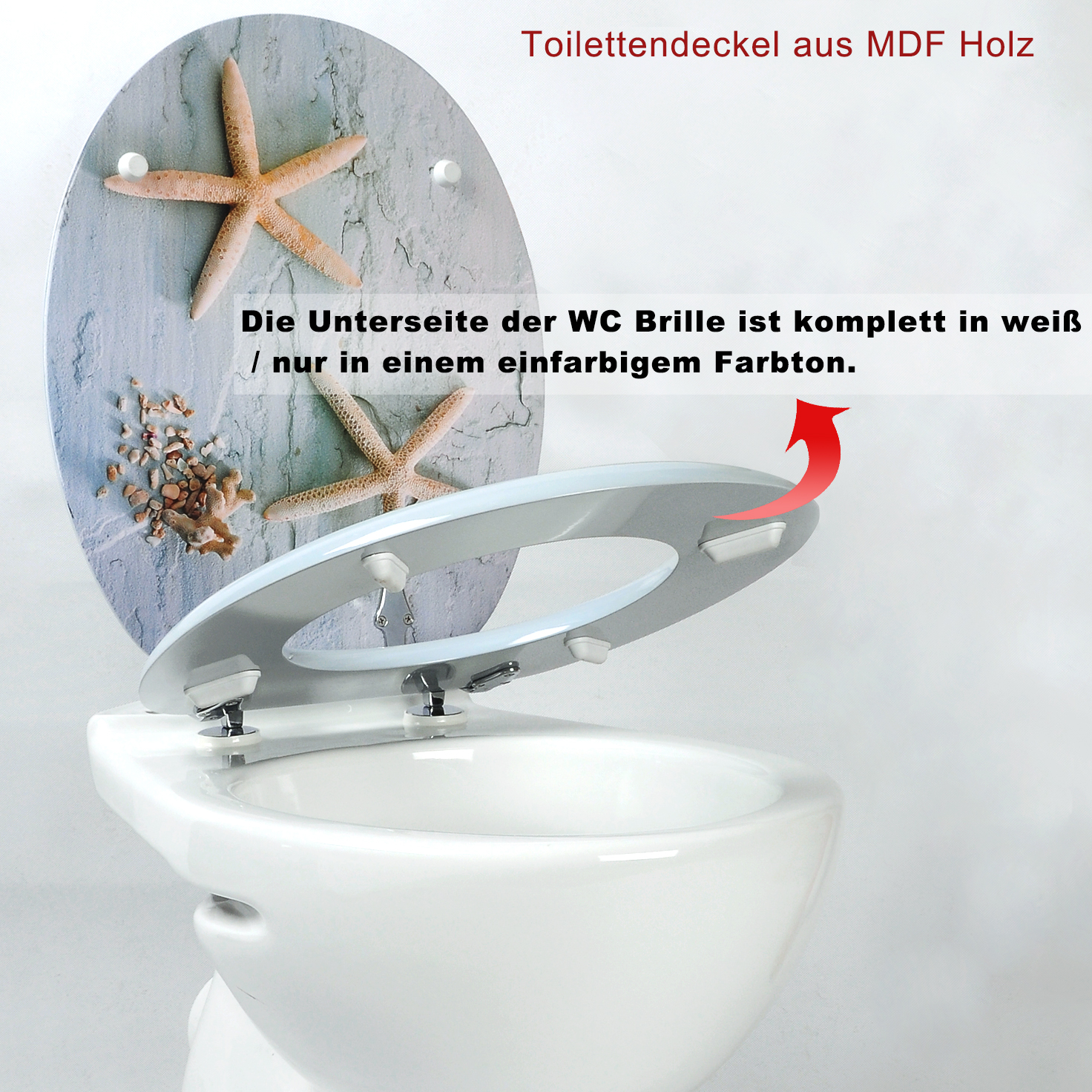 Fabulous WC Sitz Toilettendeckel MDF Holz ABSENKAUTOMATIK Toilettensitz  LK93