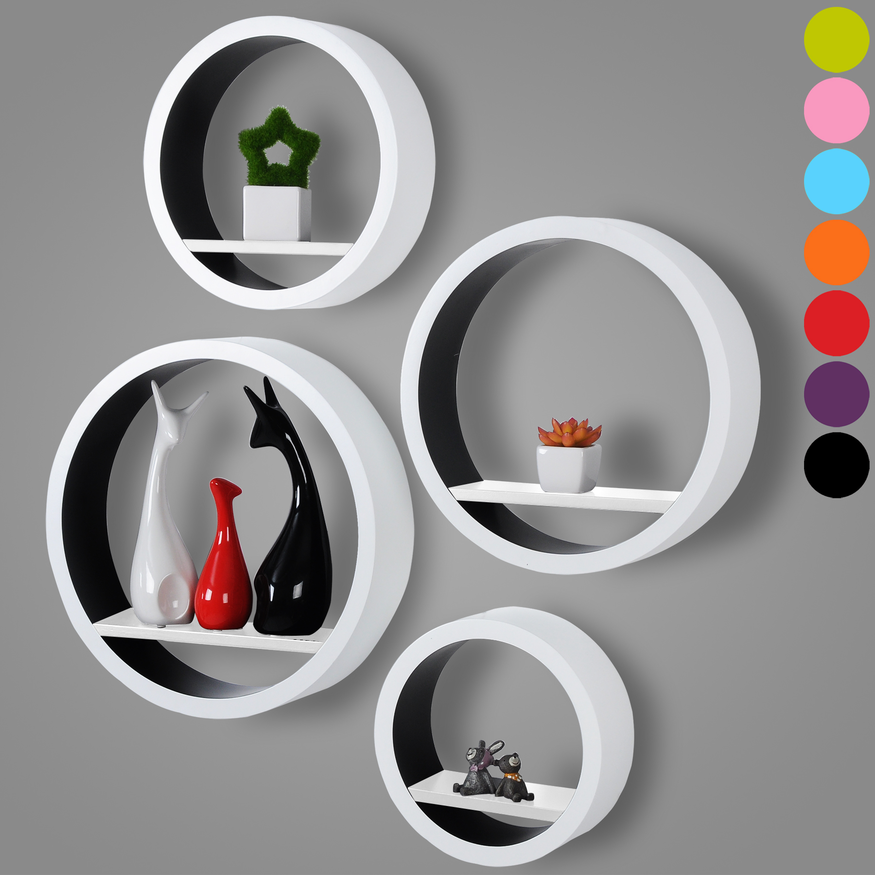 wandregal h ngeregal mdf b cherregal 4er set rund cd regal. Black Bedroom Furniture Sets. Home Design Ideas