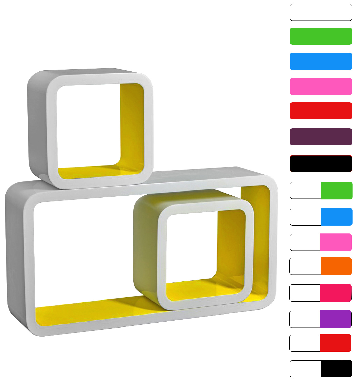 wandregal 3er set h ngeregal holzregal b cherregal regale. Black Bedroom Furniture Sets. Home Design Ideas