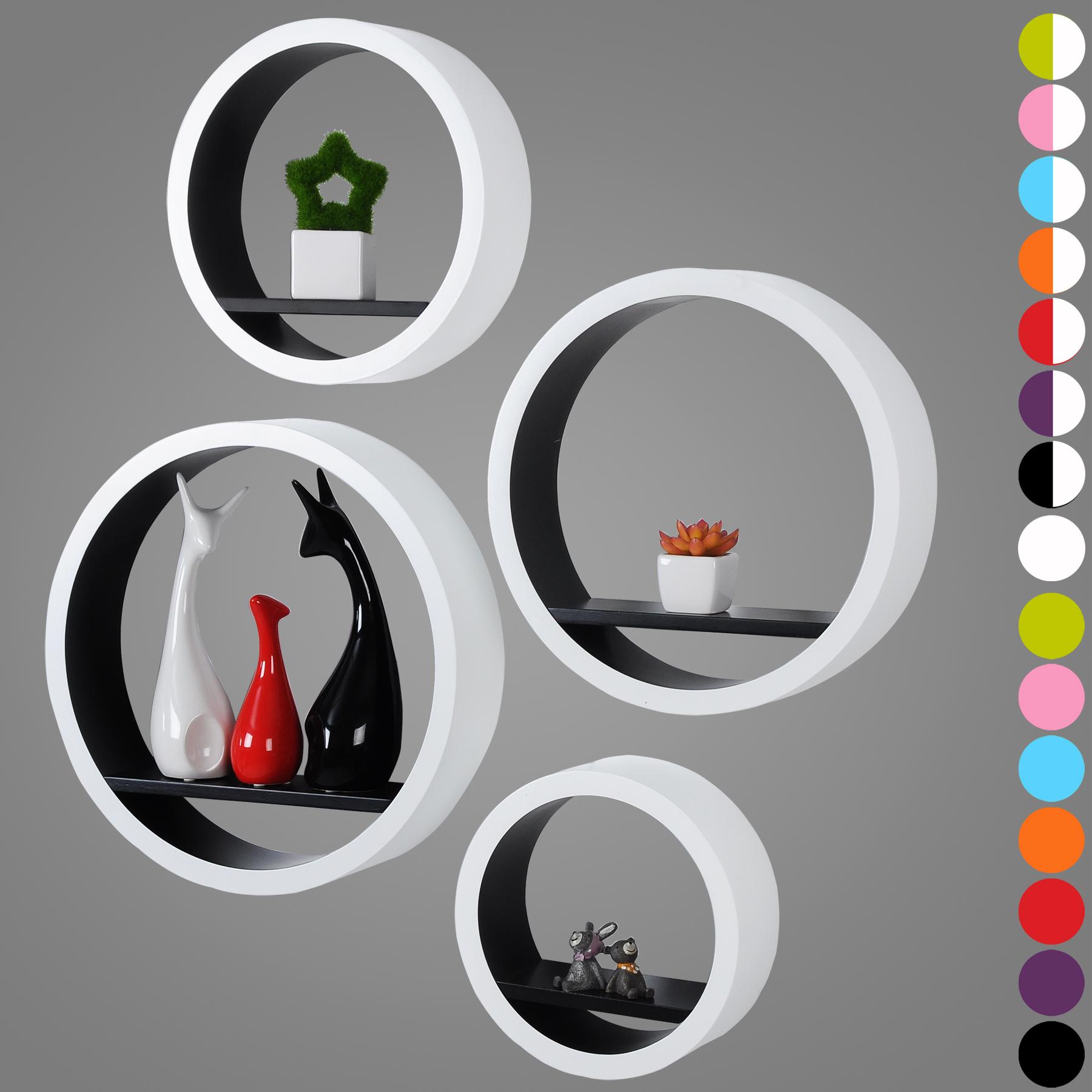 wandregal h ngeregal 4er set rund dekoregal wandboard b cherregal cd regal 291 ebay. Black Bedroom Furniture Sets. Home Design Ideas