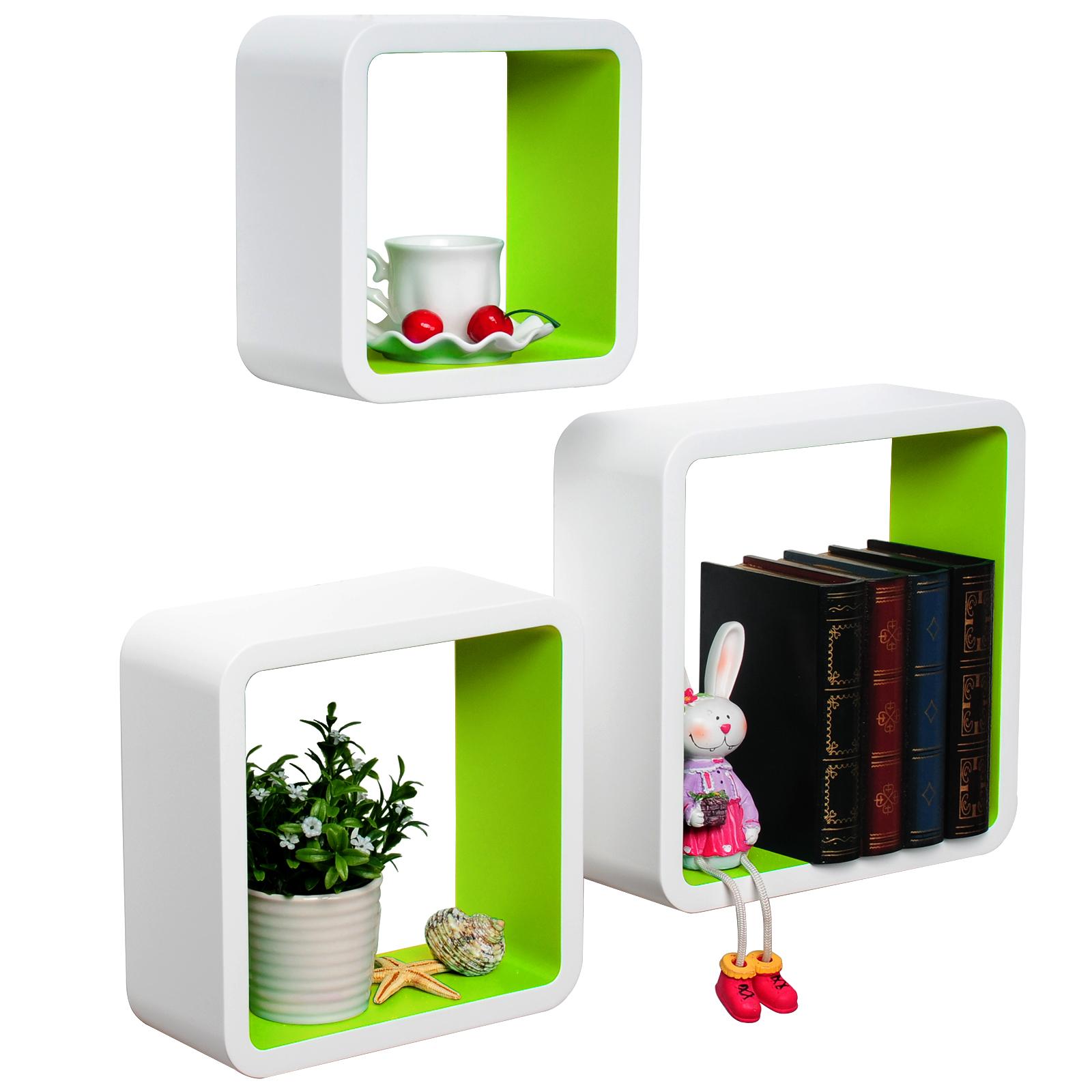 3er set wandregal h ngeregal holz cube regal b cherregal schrank regale 178 ebay. Black Bedroom Furniture Sets. Home Design Ideas