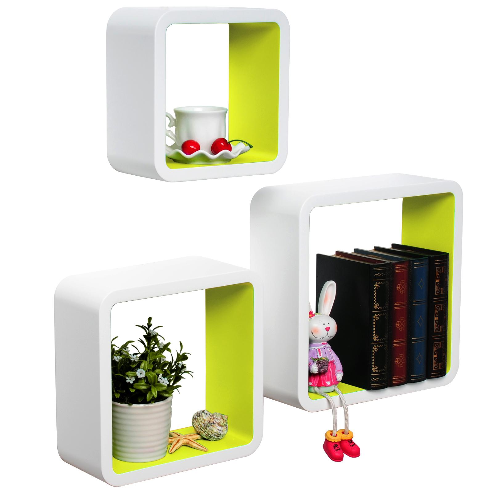 wandregal 3er set regal b cherregal h ngeregal cubes. Black Bedroom Furniture Sets. Home Design Ideas