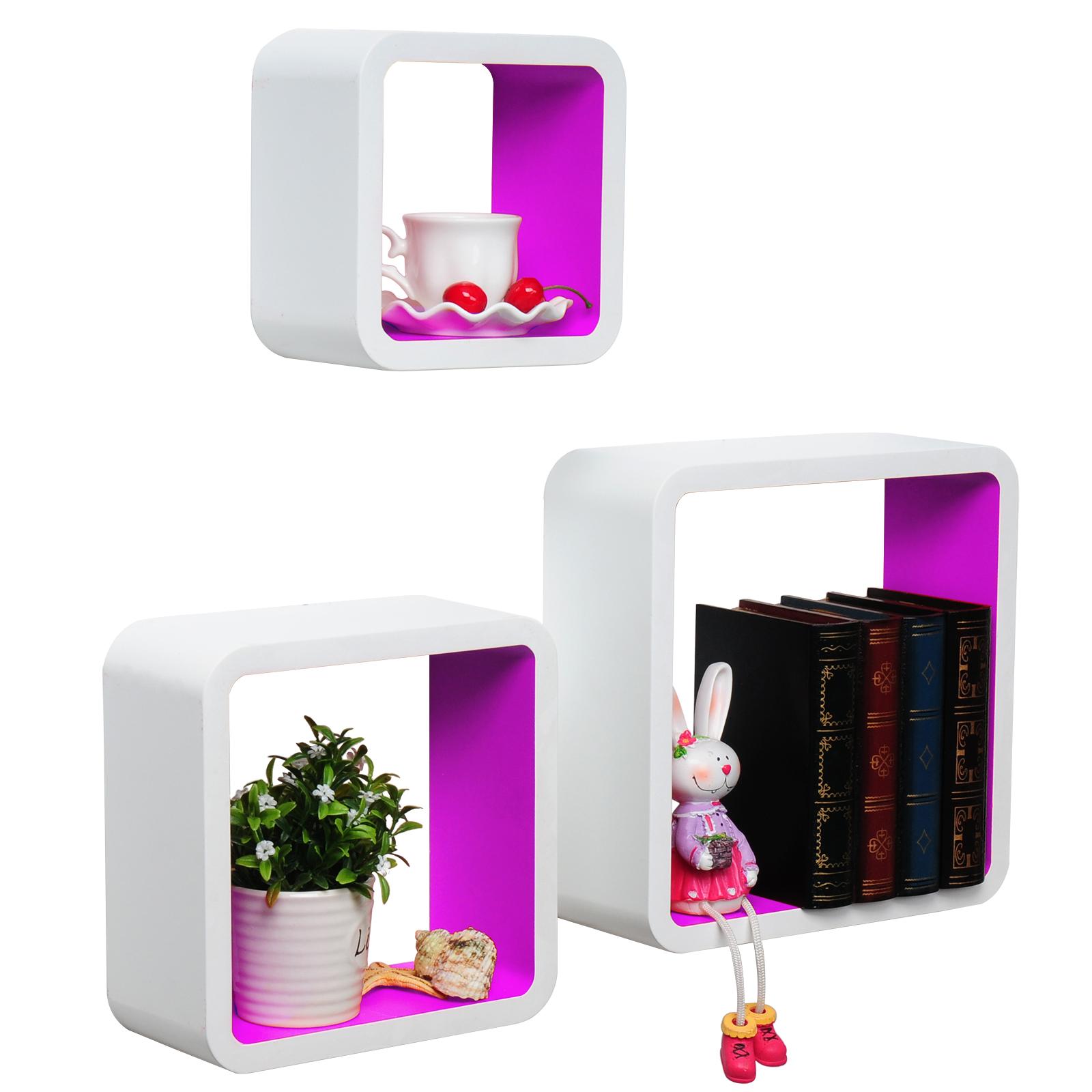 3er set wandregal h ngeregal w rfelregal cd cube br oregal. Black Bedroom Furniture Sets. Home Design Ideas