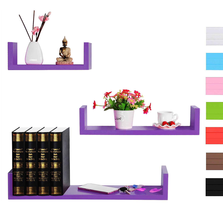 wandregal 3er set regale h ngeregal b cher cd regal. Black Bedroom Furniture Sets. Home Design Ideas