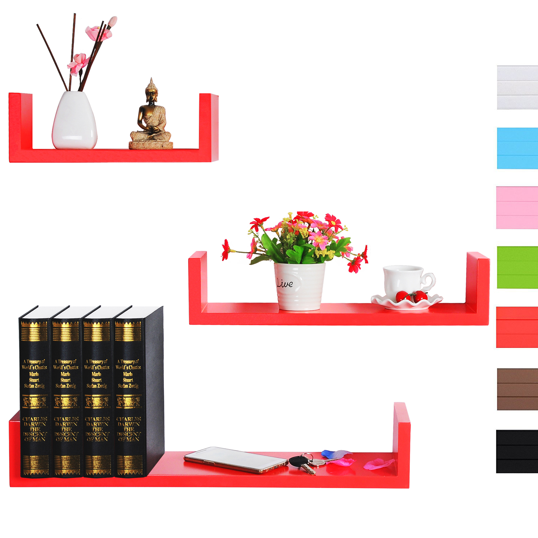 wandregal 3er set regale h ngeregal b cher cd regal holzregal rein rot rg9239nrt ebay. Black Bedroom Furniture Sets. Home Design Ideas