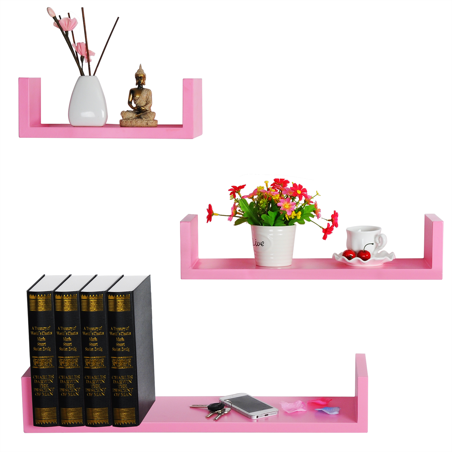 lot de 3 tag res murale en mdf tag re livres cd dvd murale rose frg9239rs ebay. Black Bedroom Furniture Sets. Home Design Ideas