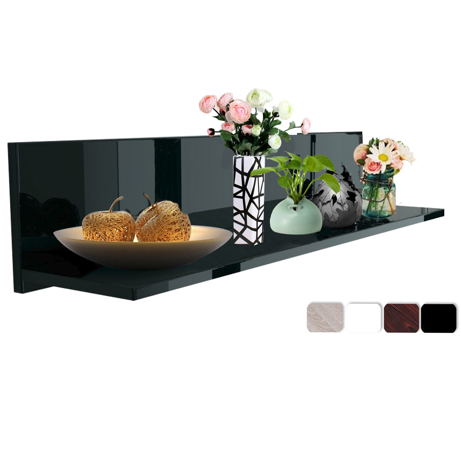 tag re murale en mdf pour rangement tag re de cd dvd livres noir blanc f120 ebay. Black Bedroom Furniture Sets. Home Design Ideas