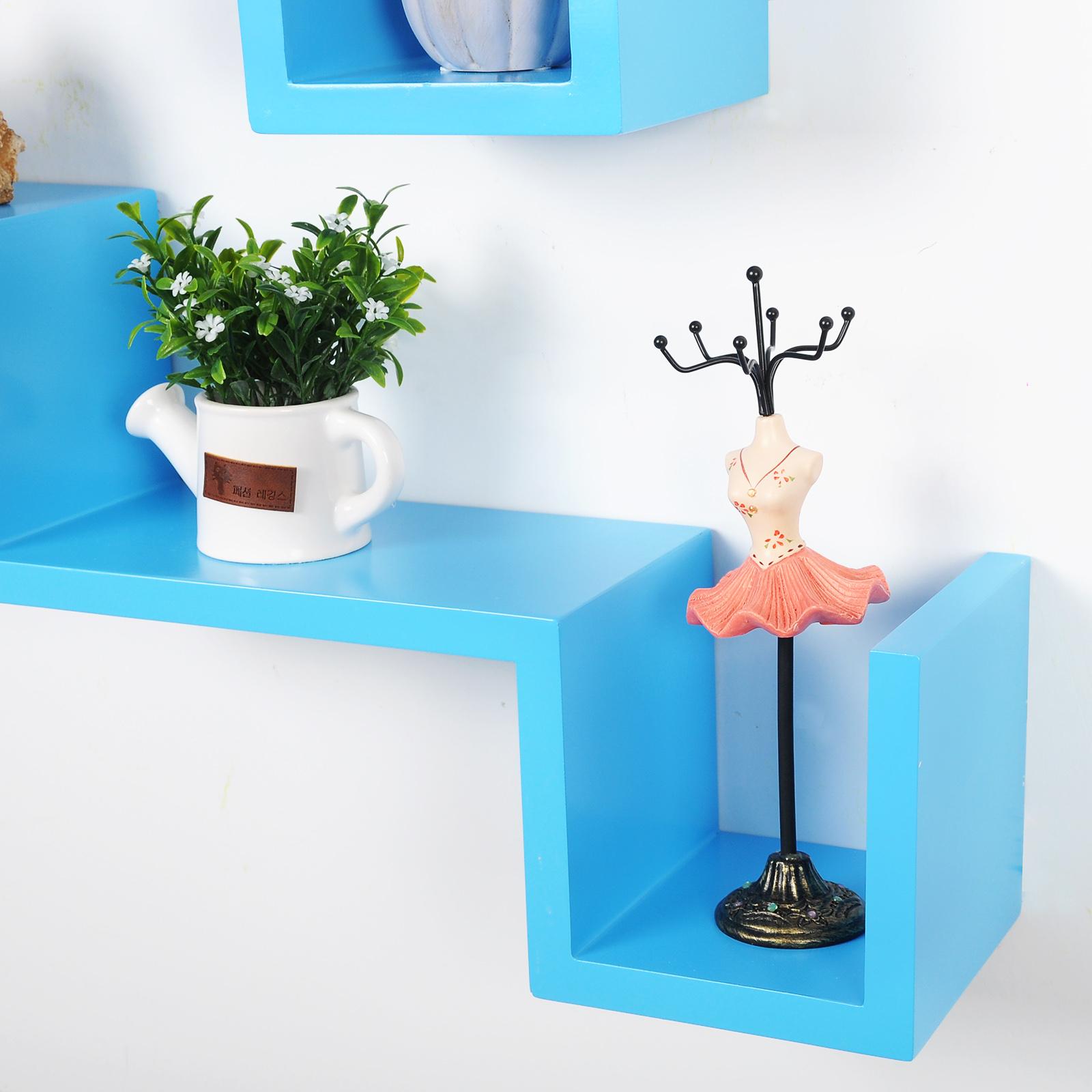 woltu 2er set wandregal b cheregal cd regal h ngeregal. Black Bedroom Furniture Sets. Home Design Ideas