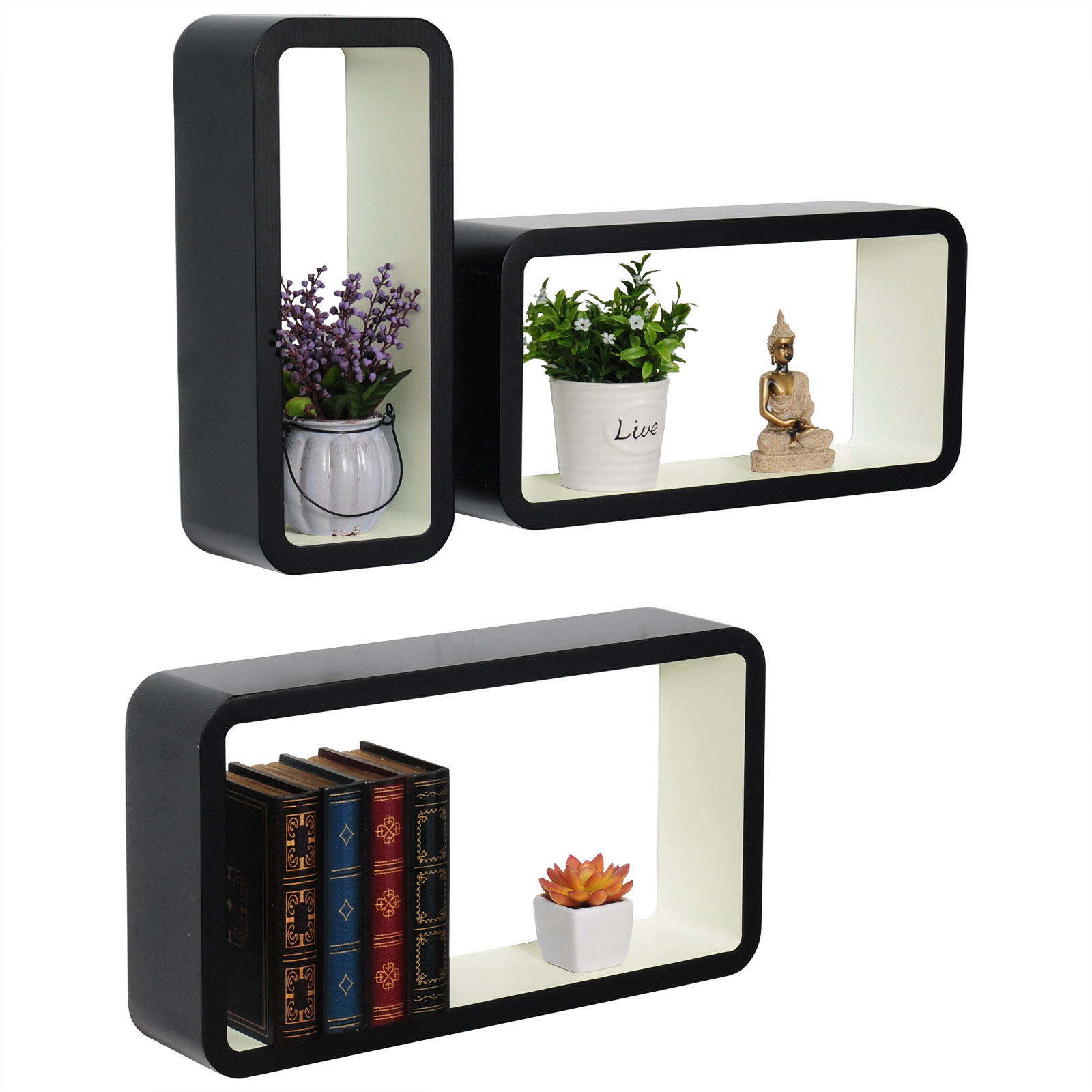 Etagere-murale-pour-livres-CD-DVD-Bonsai-de-Etageres-de-mini-petit-pot-f111