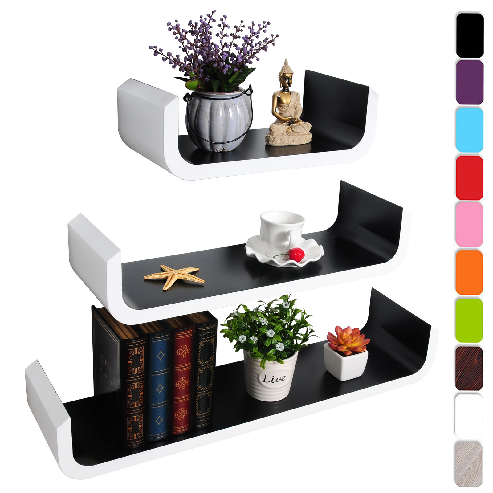 lot de 3 tag re murale en mdf pour livres cd dvd tag re. Black Bedroom Furniture Sets. Home Design Ideas