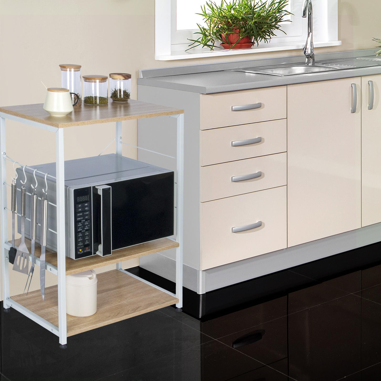 Etagere Dessus Micro Onde détails sur Étagère de cuisine Étagère de micro-ondes en métal et bois  60x39x74cm rgb9309hei