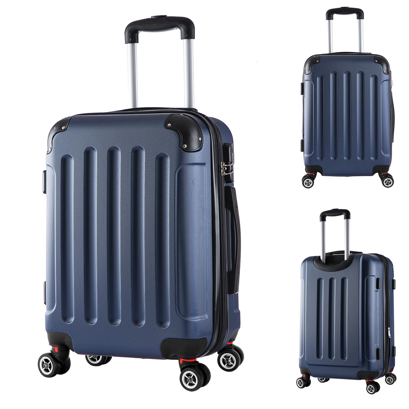 reisekoffer trolley hartschalen reise koffer mit 4 rollen blau l rk4204bl l. Black Bedroom Furniture Sets. Home Design Ideas