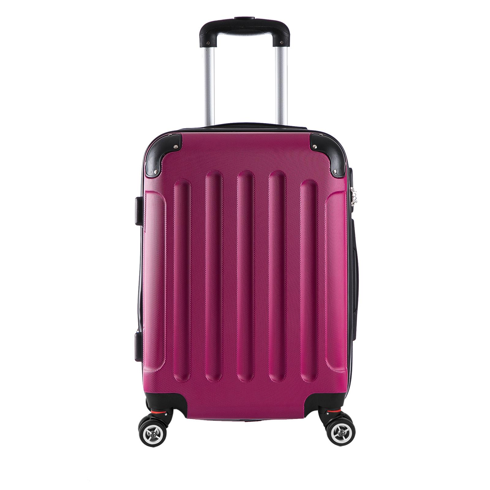 reisekoffer trolley hartschalen reise koffer mit 4 rollen pink l rk4204pk l ebay. Black Bedroom Furniture Sets. Home Design Ideas