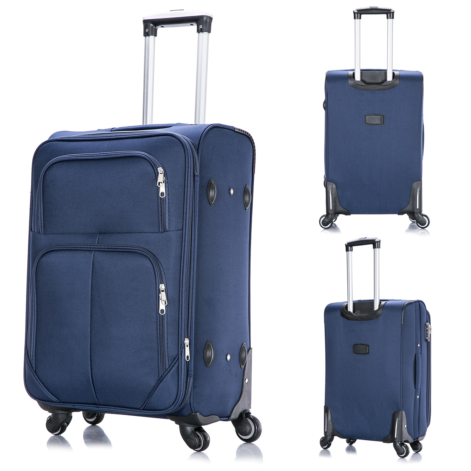 reisekoffer trolley stoff 4 rollen koffer weichgep ck gro blau xl rk4215bl xl ebay. Black Bedroom Furniture Sets. Home Design Ideas