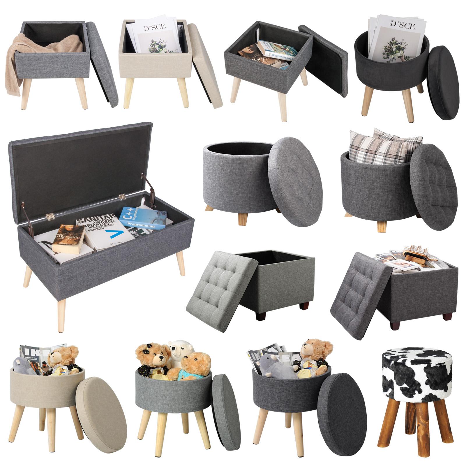 sitzhocker sitzw rfel mit stauraum mit fu aufbewahrungsbox leinen 1001 24 ebay. Black Bedroom Furniture Sets. Home Design Ideas