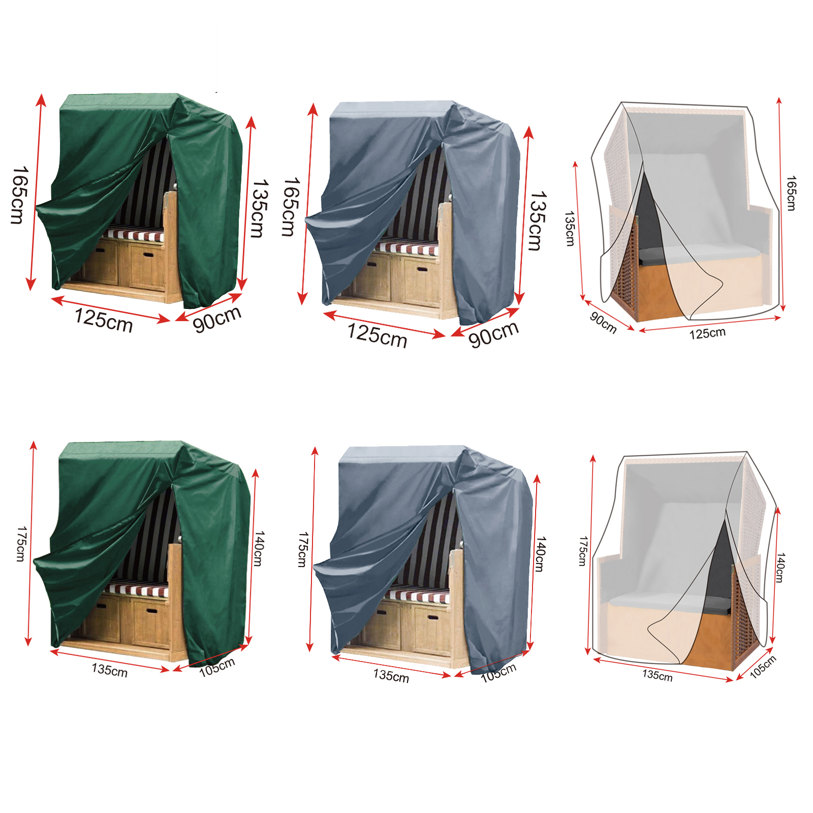 strandkorb schutzh lle abdeckhaube plane abdeckung mit rei verschluss xl xxl ebay. Black Bedroom Furniture Sets. Home Design Ideas