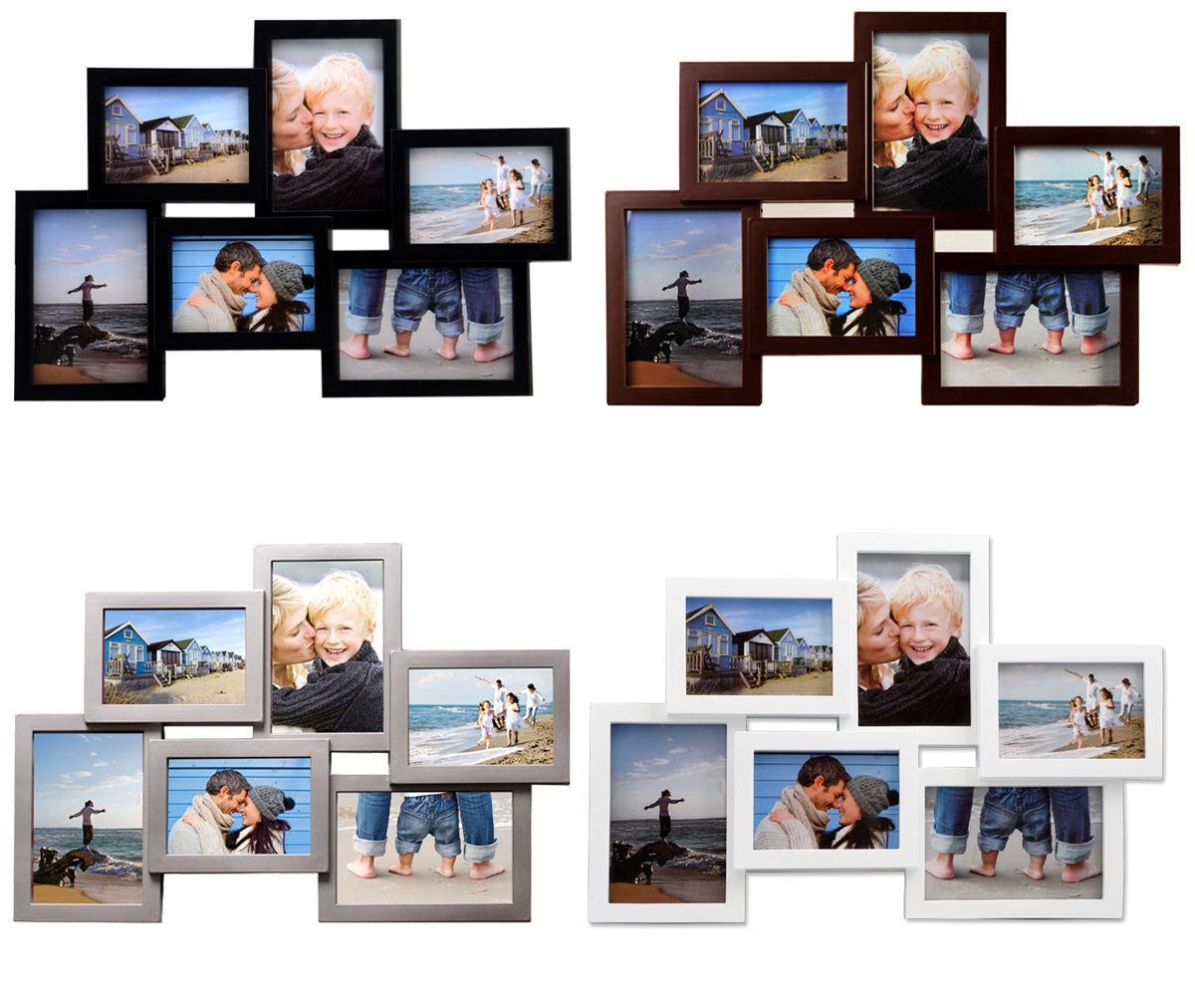 Bilderrahmen Collage Fotogalerie Rahmen 10 Fotos Weiß Schwarz Silber ...