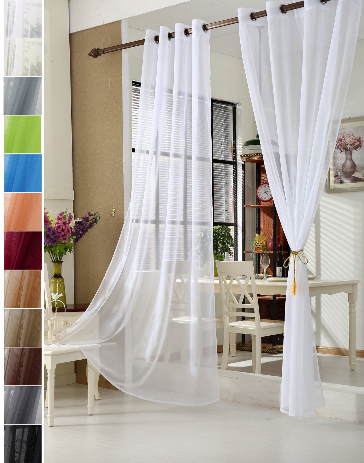 1 pi ce rideau transparent avec oeillets taille 140x245cm f081 ebay. Black Bedroom Furniture Sets. Home Design Ideas