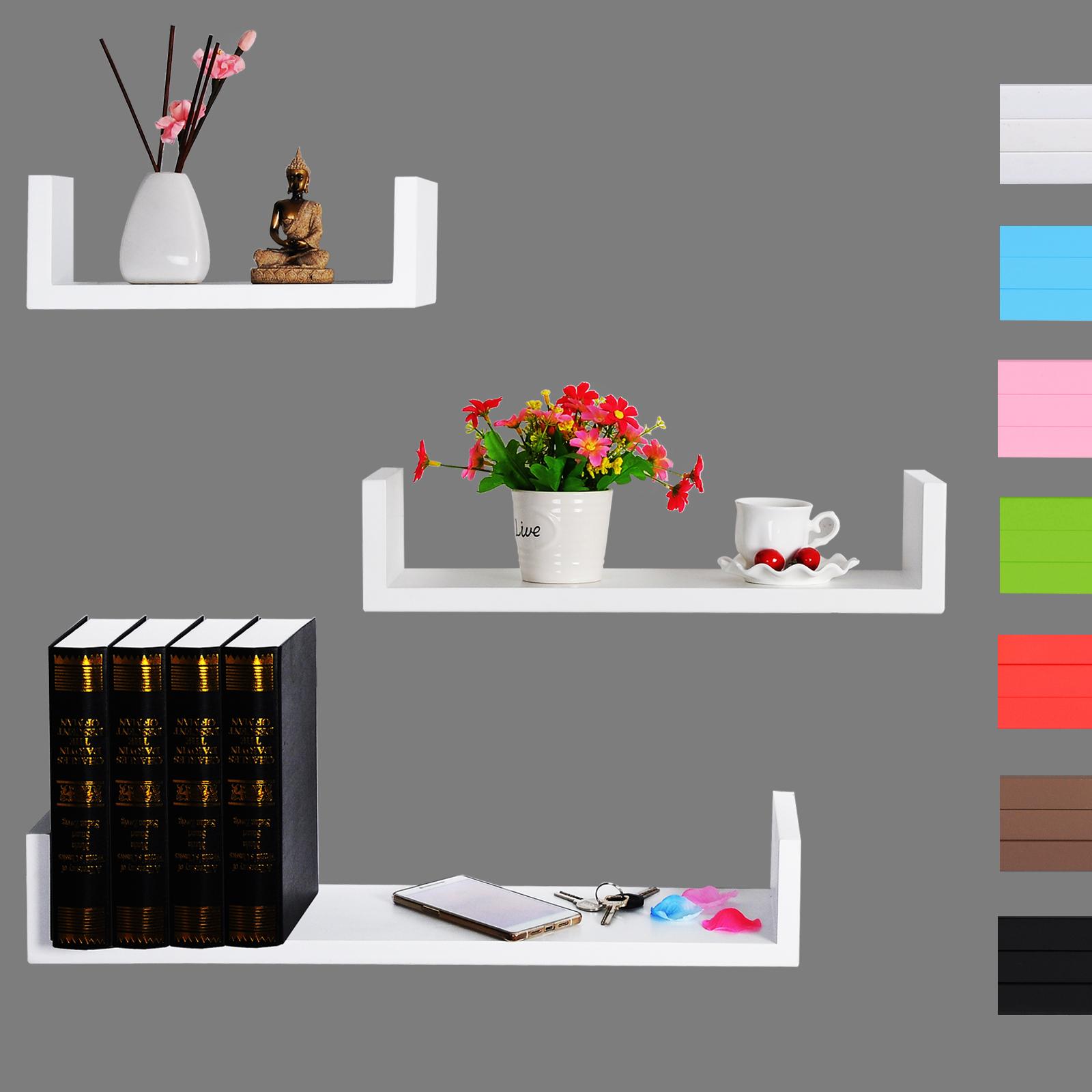 wandregal 3er set regal board b cherregal h ngeregal cd dvd regal holzregal 352 ebay. Black Bedroom Furniture Sets. Home Design Ideas