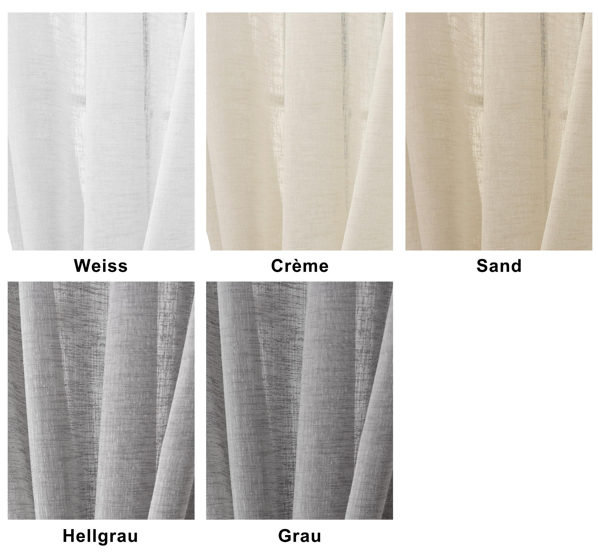 gardinen stores transparent leinen optik schlaufenschal vorhang schal voile 632 ebay. Black Bedroom Furniture Sets. Home Design Ideas