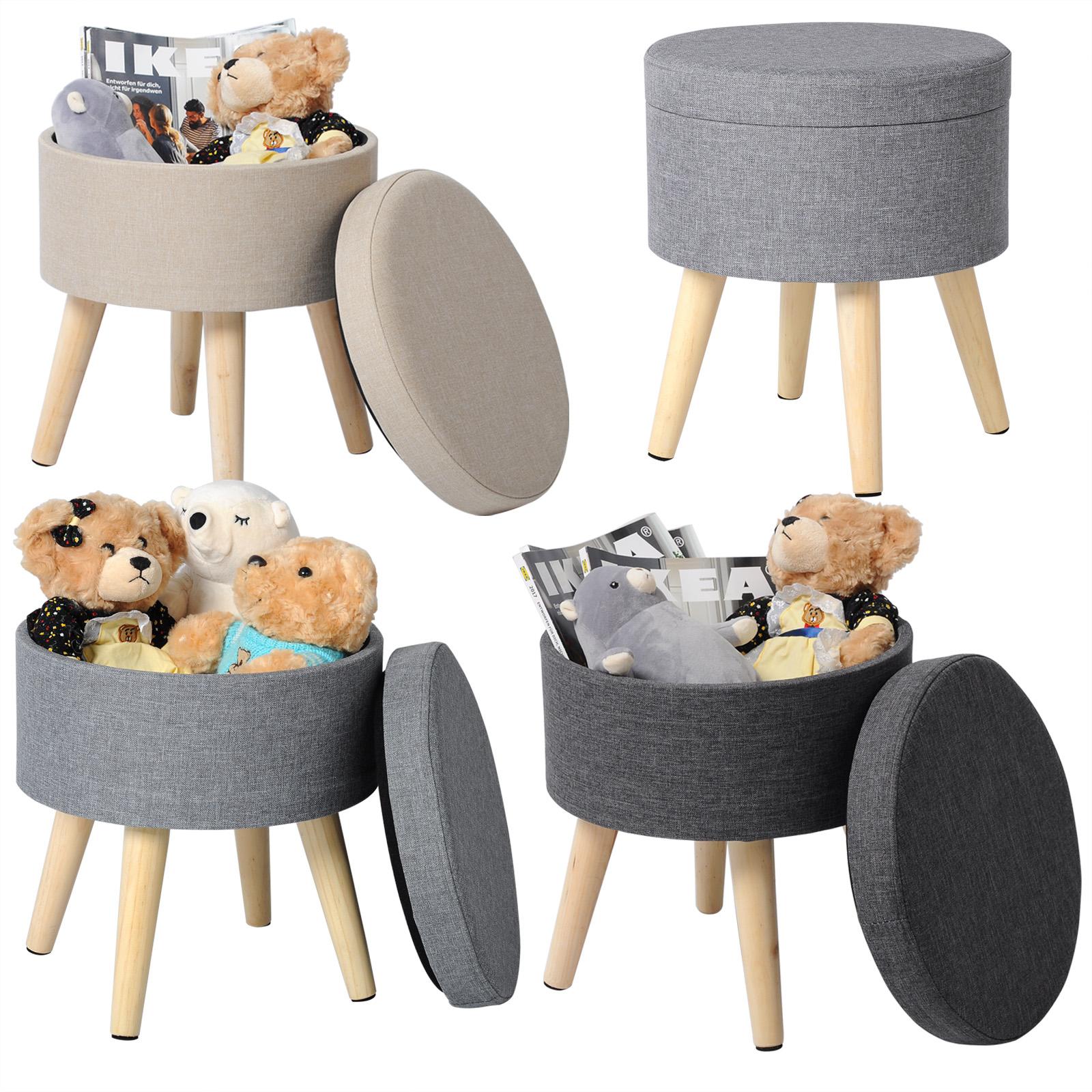 sitzhocker fu hocker sitztruhe hocker polsterhocker leinen mit deckel mdf 753 ebay. Black Bedroom Furniture Sets. Home Design Ideas