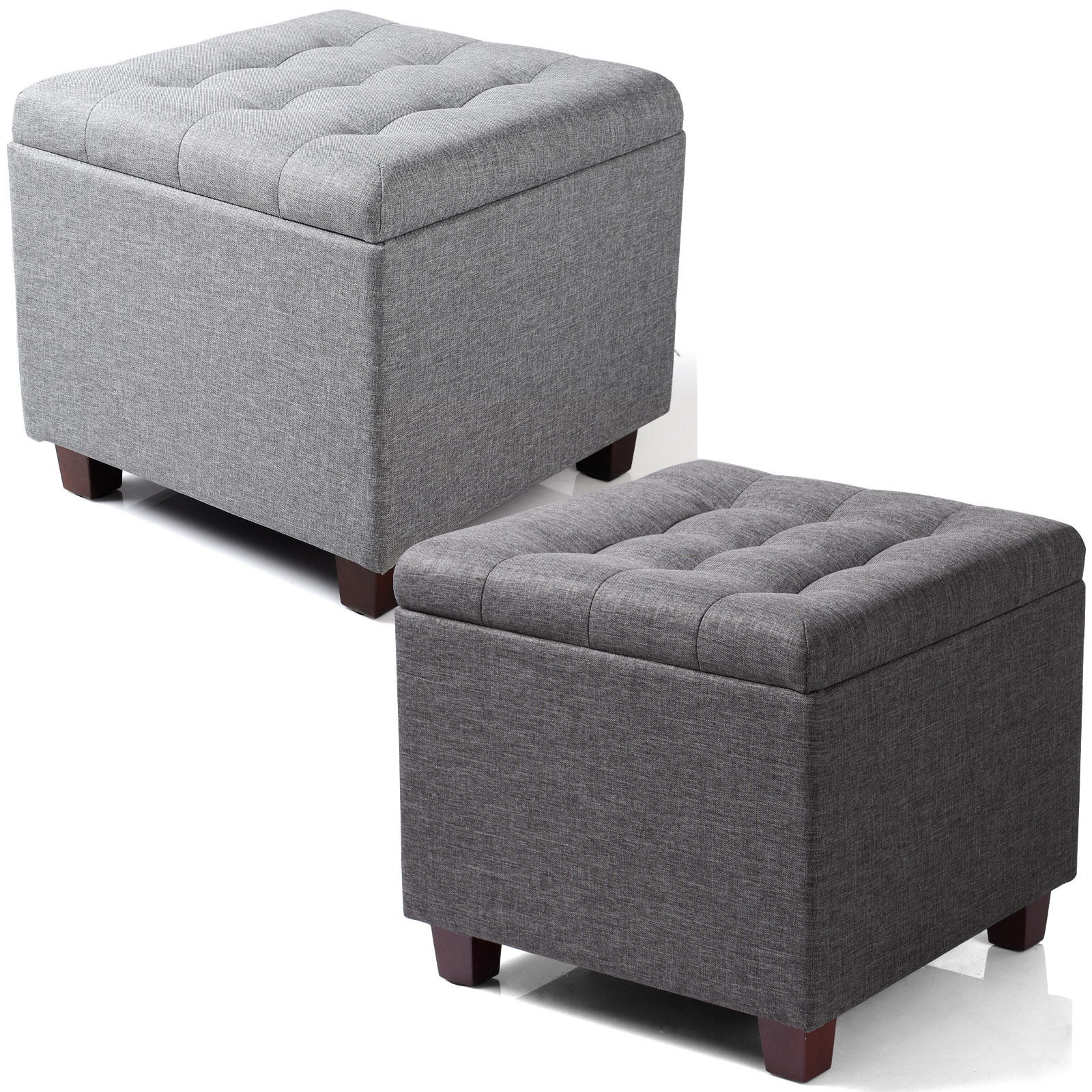 Ottoman Storage Box Foot Stool Seat Single Folding Linen