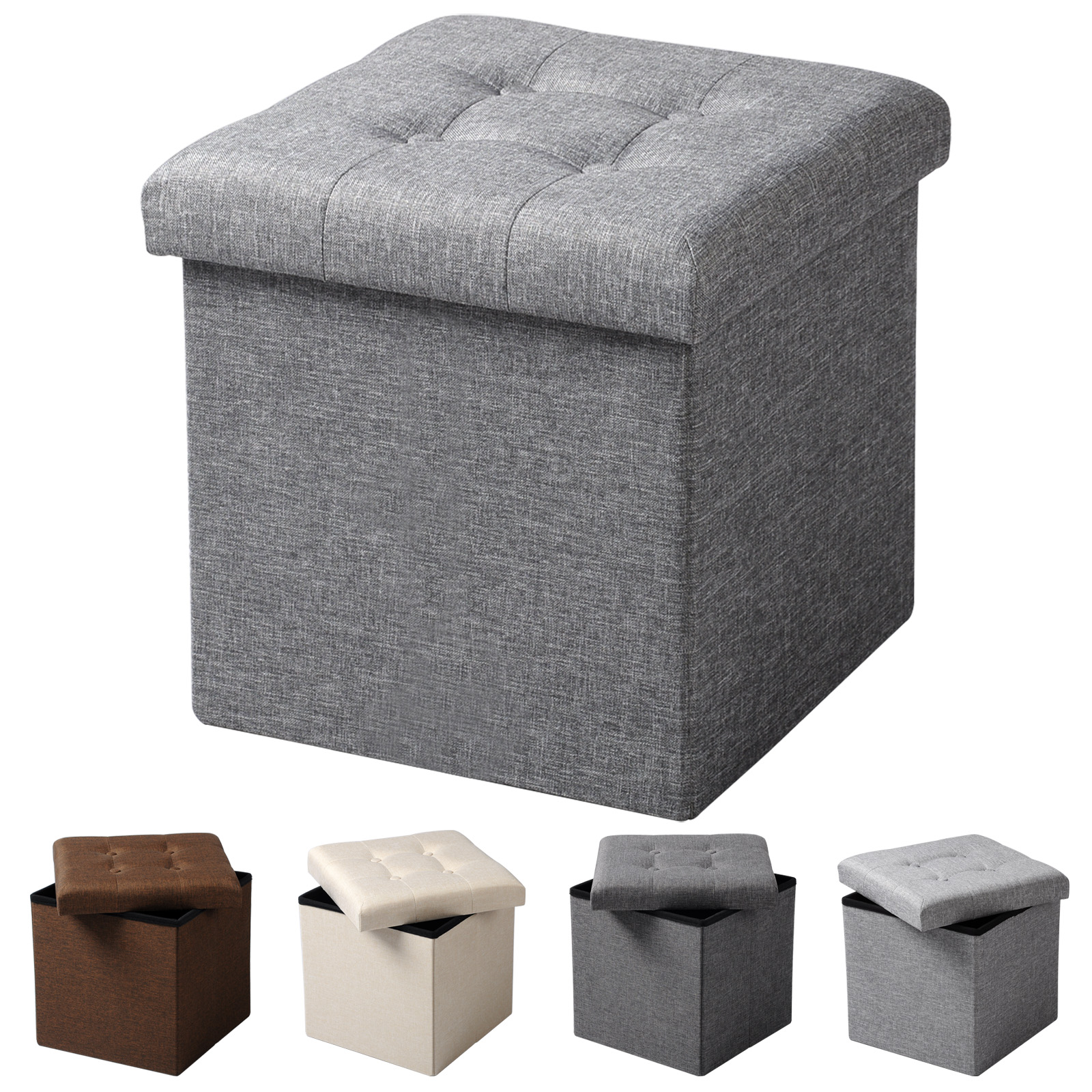 tabouret pliable pouf coffre bo te de rangement si ge banquette en lin f200 ebay. Black Bedroom Furniture Sets. Home Design Ideas