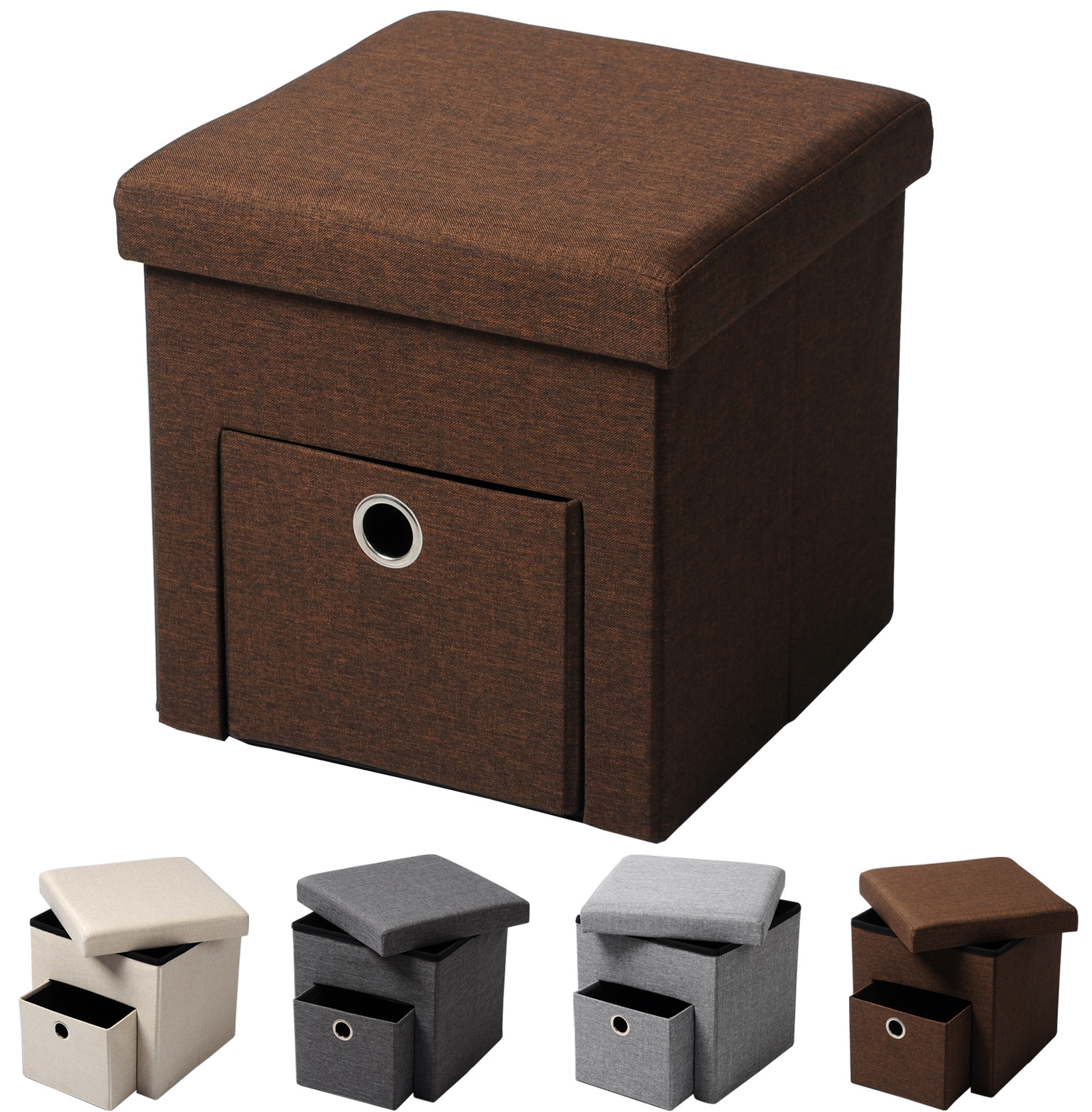 pouf coffre de rangement si ge banquette tabouret pliable avec 1 tiroir f201 ebay. Black Bedroom Furniture Sets. Home Design Ideas
