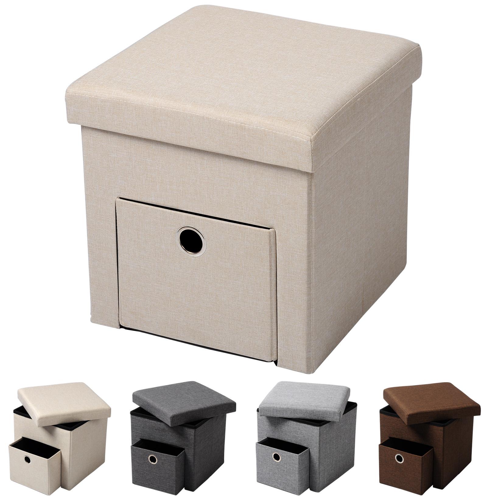 pouf coffre de rangement si ge banquette tabouret pliable avec 1 tiroir f201 ebay. Black Bedroom Furniture Sets. Home Design Ideas
