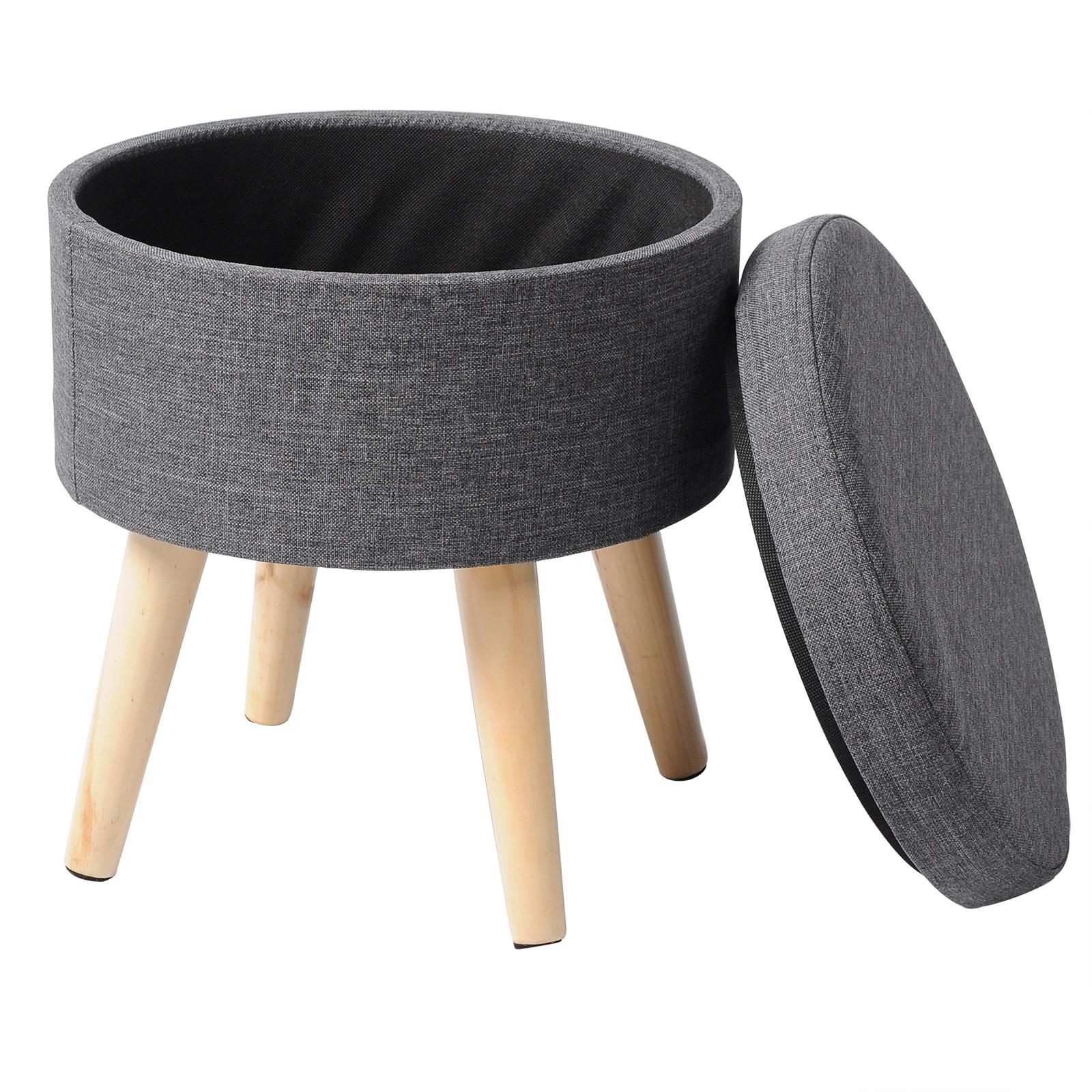 Tabouret rond pouf coffre de rangement repose-pieds en lin et bois massif f202 | eBay