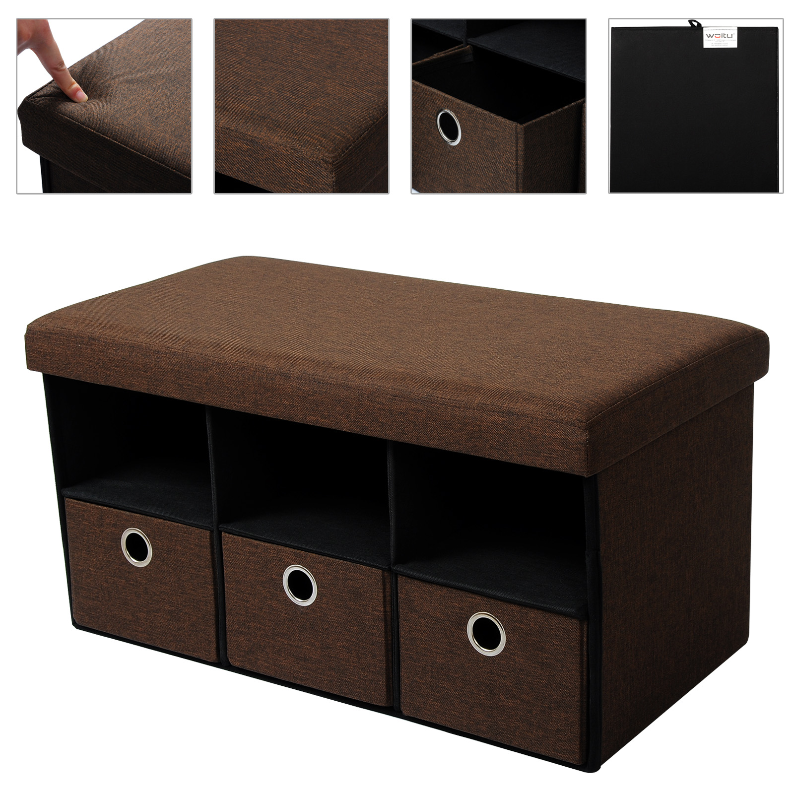 grand banc ottomane pouf coffre de rangement tabouret pliant avec 3 tiroirs f203 ebay. Black Bedroom Furniture Sets. Home Design Ideas