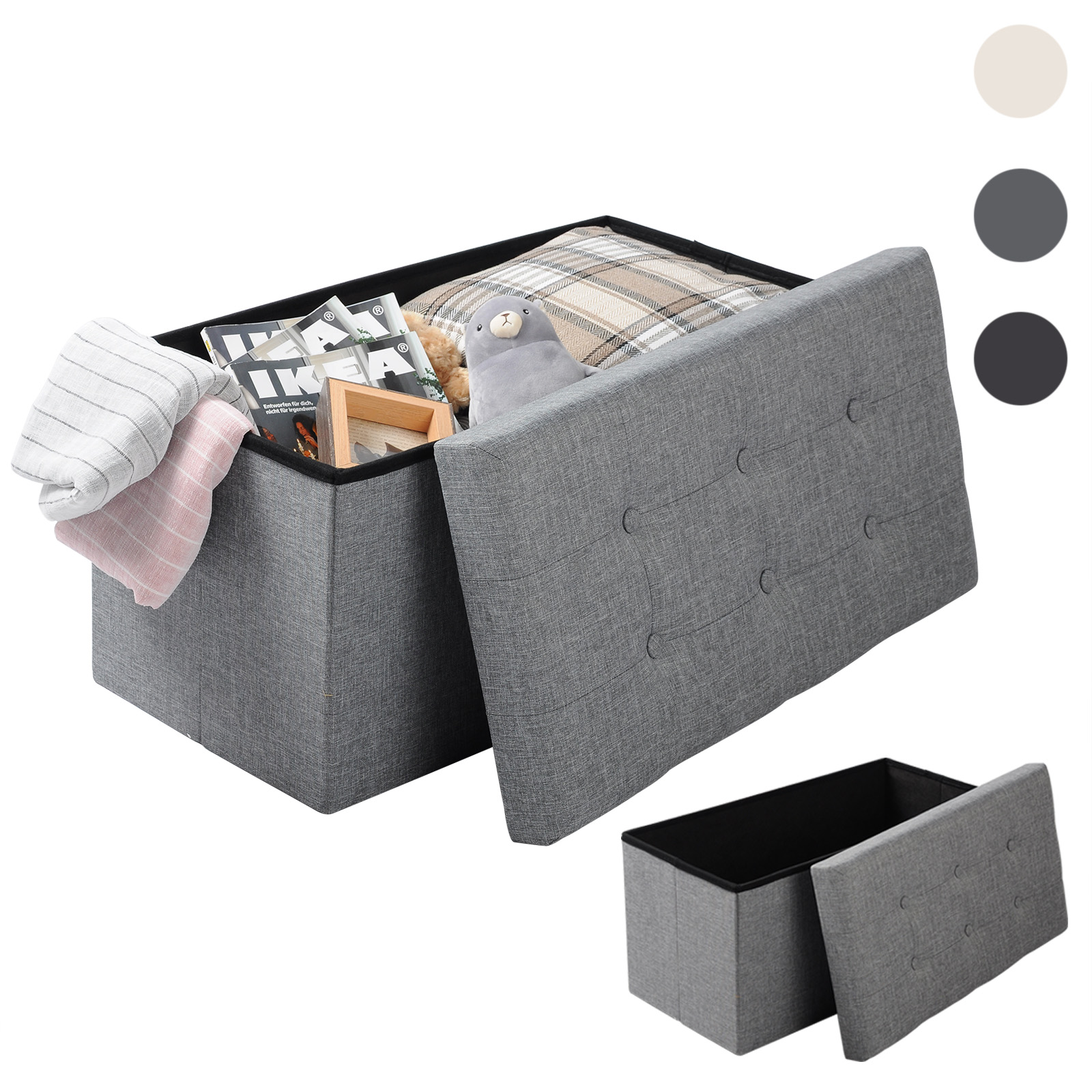 banc ottomane pouf tabouret pliable coffre de rangement si ge banquette f204 ebay. Black Bedroom Furniture Sets. Home Design Ideas