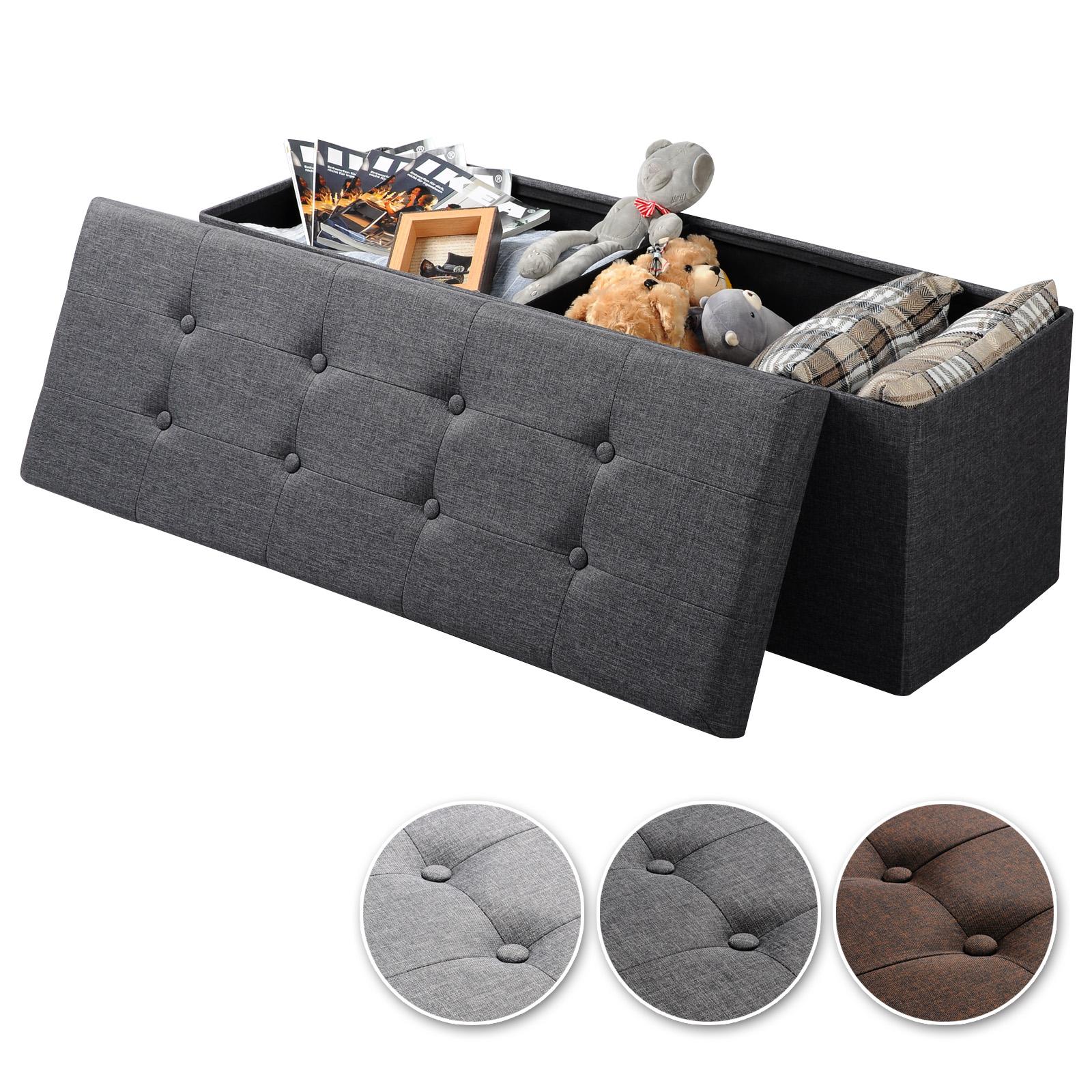 faltbarer sitzhocker sitzbank sitzw rfel mit stauraum leinen dunkelgrau 762 24 ebay. Black Bedroom Furniture Sets. Home Design Ideas