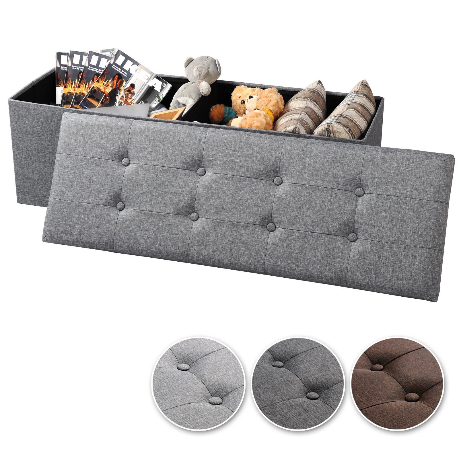 faltbarer sitzhocker sitzbank sitzw rfel mit stauraum leinen hellgrau 763 24 ebay. Black Bedroom Furniture Sets. Home Design Ideas