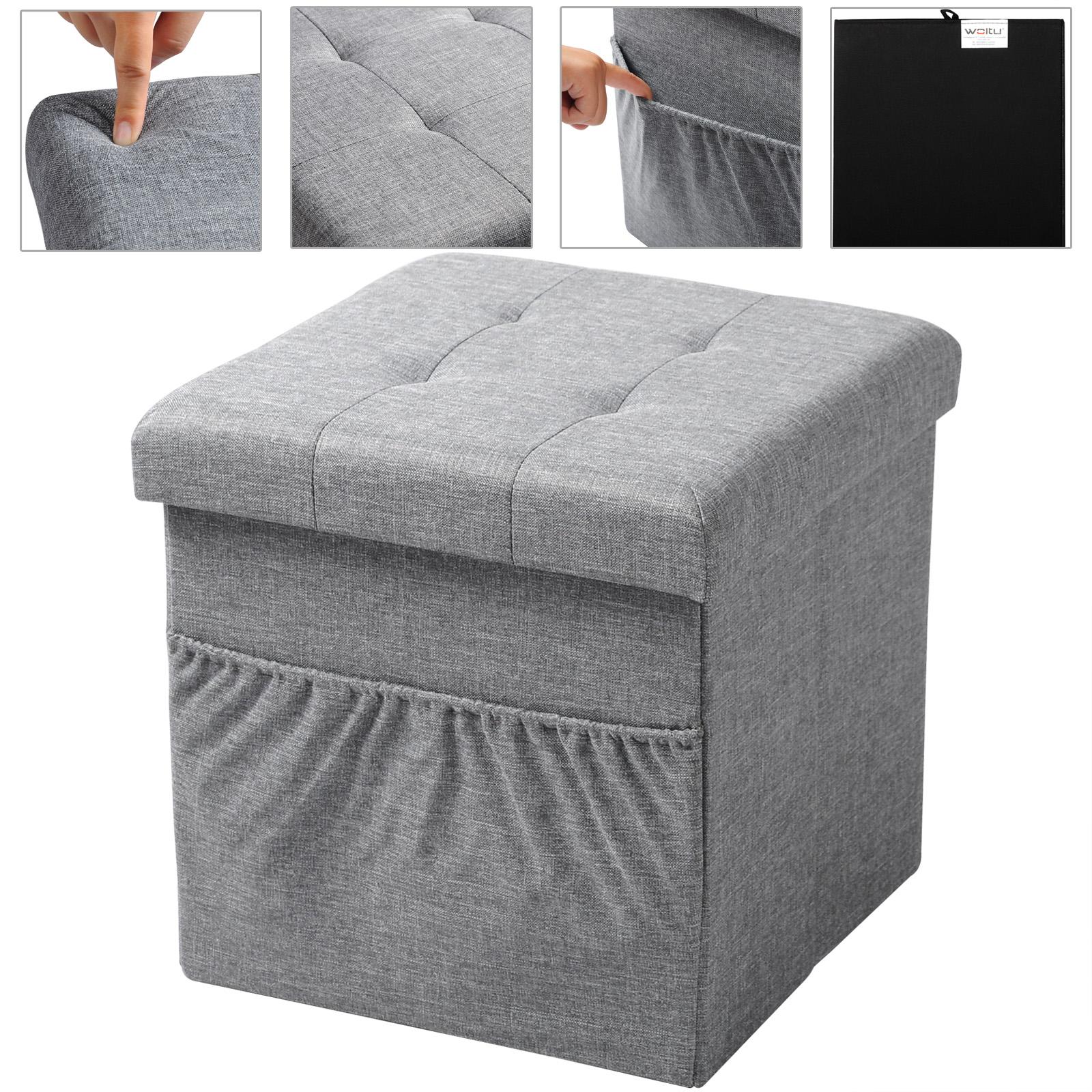 tabouret pouf carr et poche lat rale coffre de rangement pliable f206 ebay. Black Bedroom Furniture Sets. Home Design Ideas