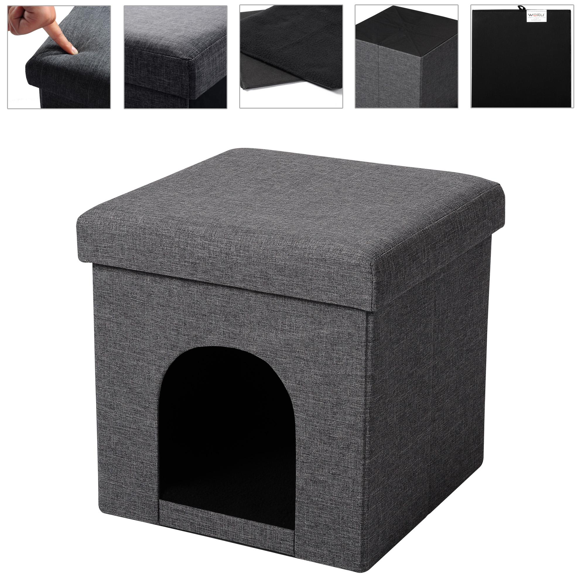 tabouret pliable pouf cube coffre de rangement f207 ebay. Black Bedroom Furniture Sets. Home Design Ideas