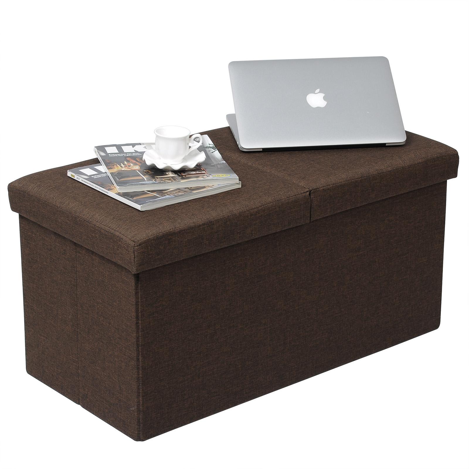 faltbarer sitzhocker sitzw rfel sitzbank aufbewahrungsbox leinen braun 760 ebay. Black Bedroom Furniture Sets. Home Design Ideas