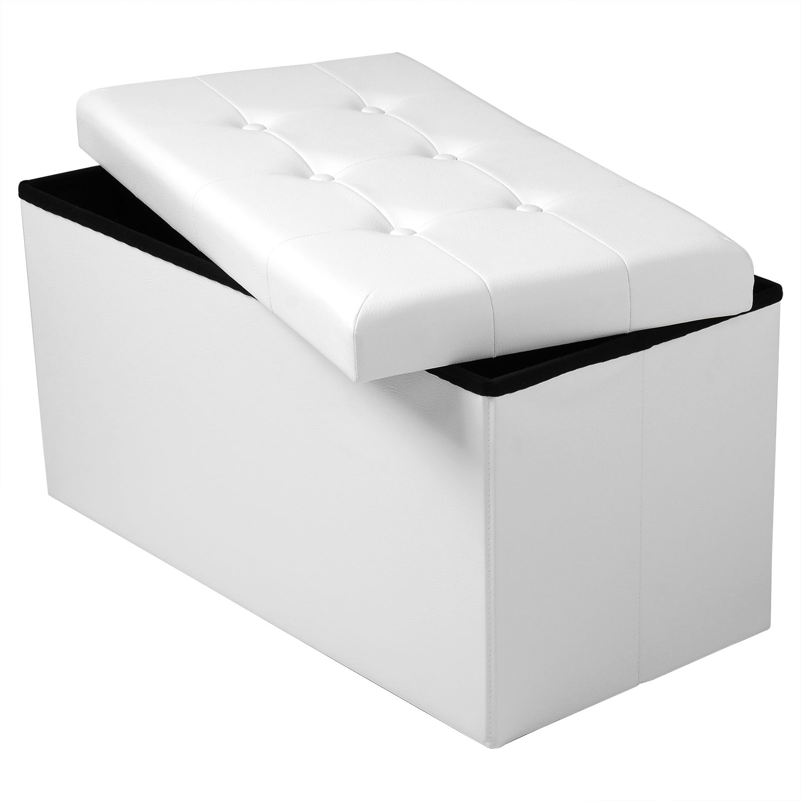 Kids Collapsible Ottoman Toy Books Box Storage Seat Chest: Ottoman Storage Box SH16ws Foldable Faux Leather Bench