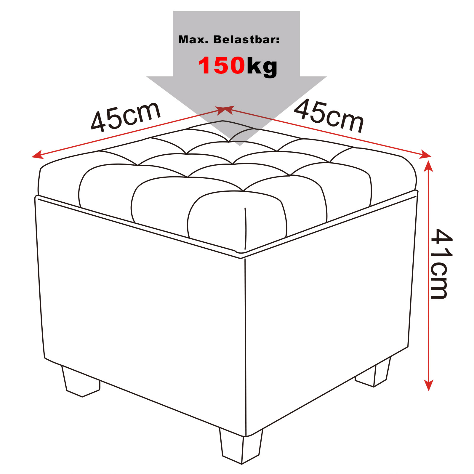 Kids Collapsible Ottoman Toy Books Box Storage Seat Chest: Ottoman Storage Box Foldable Linen Footstool Bench Seat