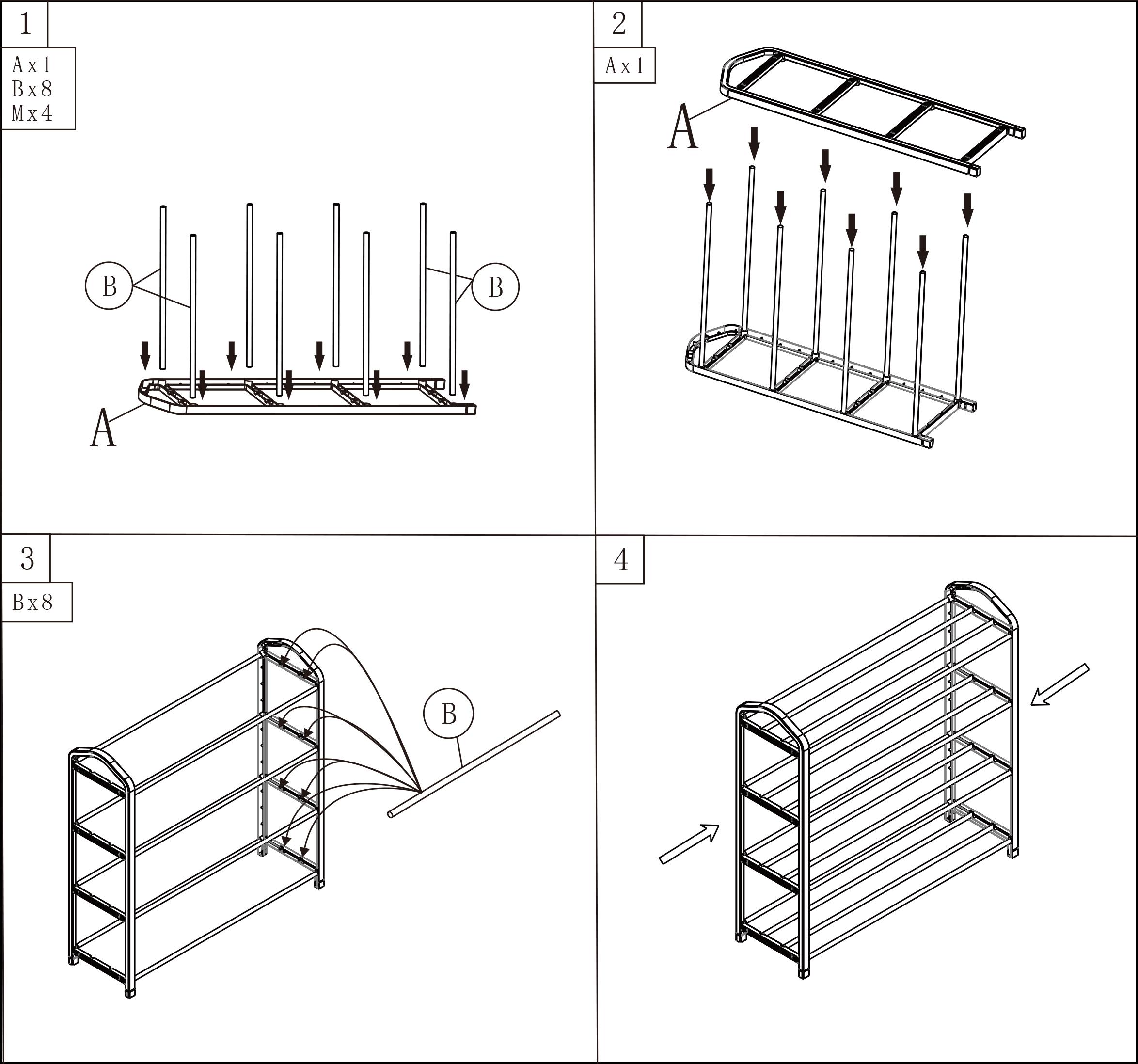 xxl schuhregal schuhablage st nder 4 schichte diy f r. Black Bedroom Furniture Sets. Home Design Ideas