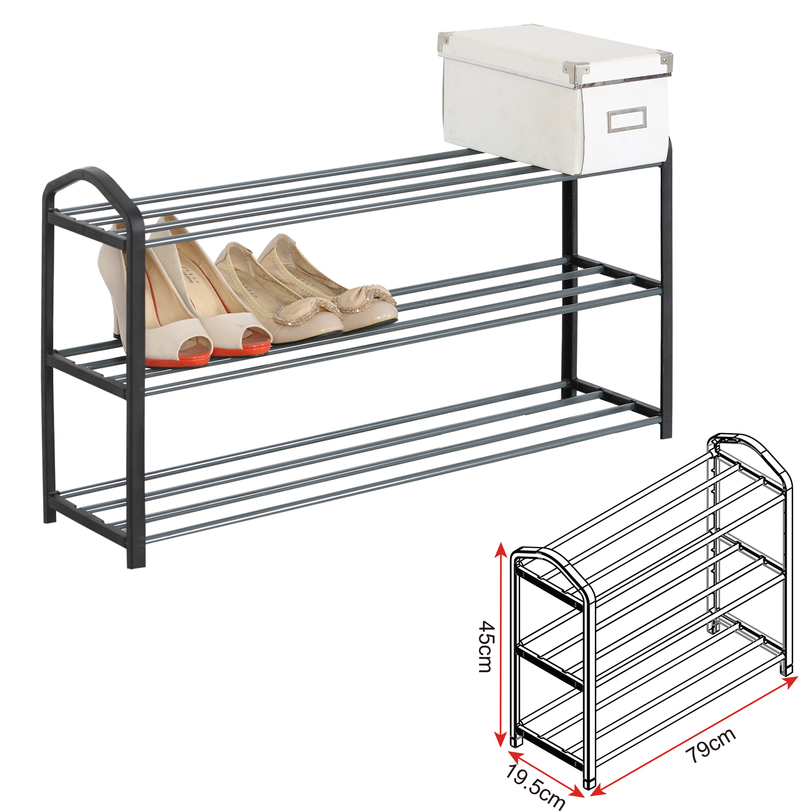 schuhablage schuh regal schrank 3 ebene f r 12 paare. Black Bedroom Furniture Sets. Home Design Ideas