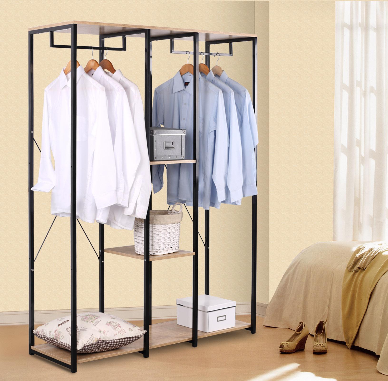 porte manteau portant v tements avec tag re en bois et acier sr0048hei ebay. Black Bedroom Furniture Sets. Home Design Ideas
