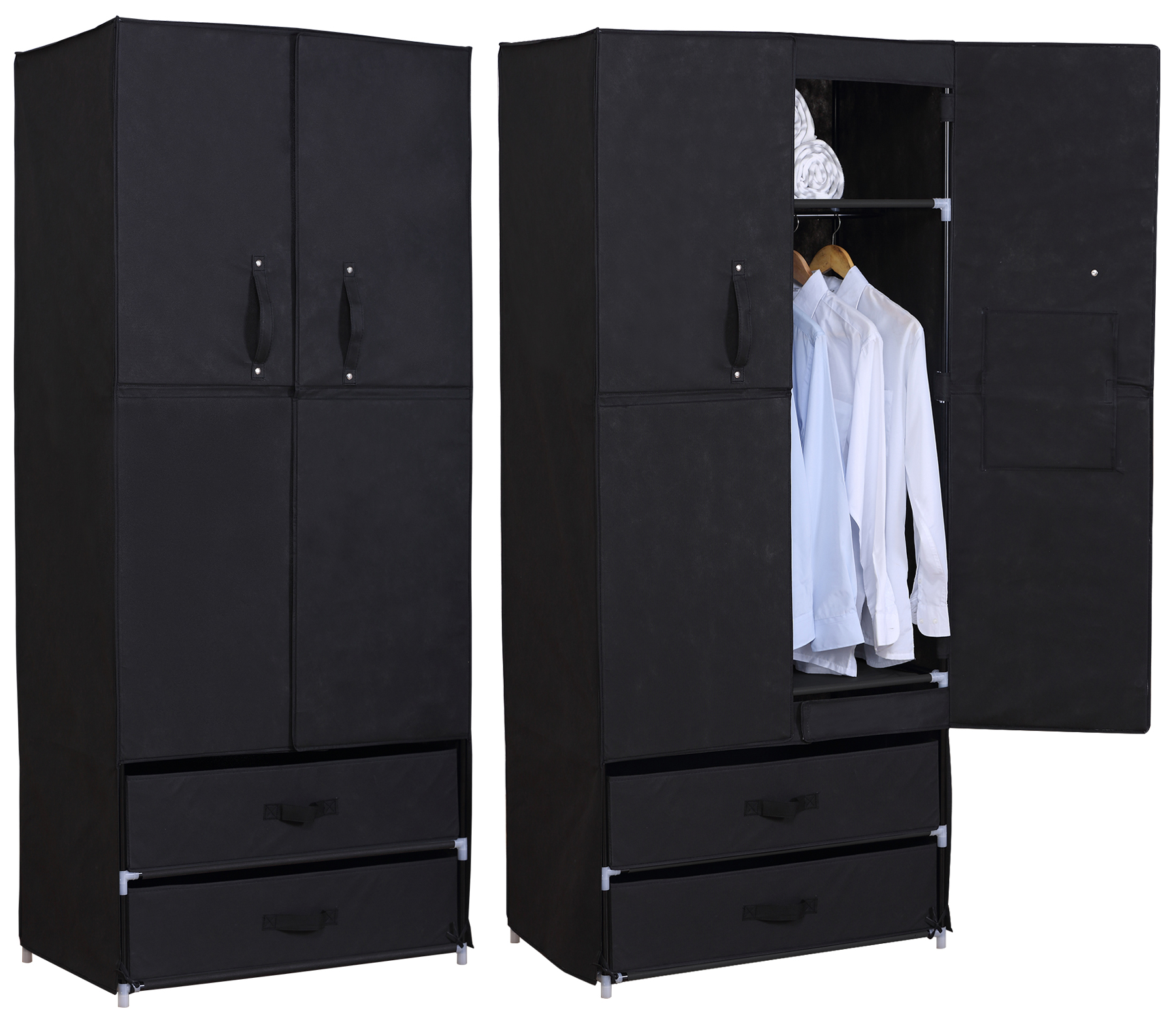 kleiderschrank schuhschrank stoff textil mit fl gelt r faltschrank 281 ebay. Black Bedroom Furniture Sets. Home Design Ideas