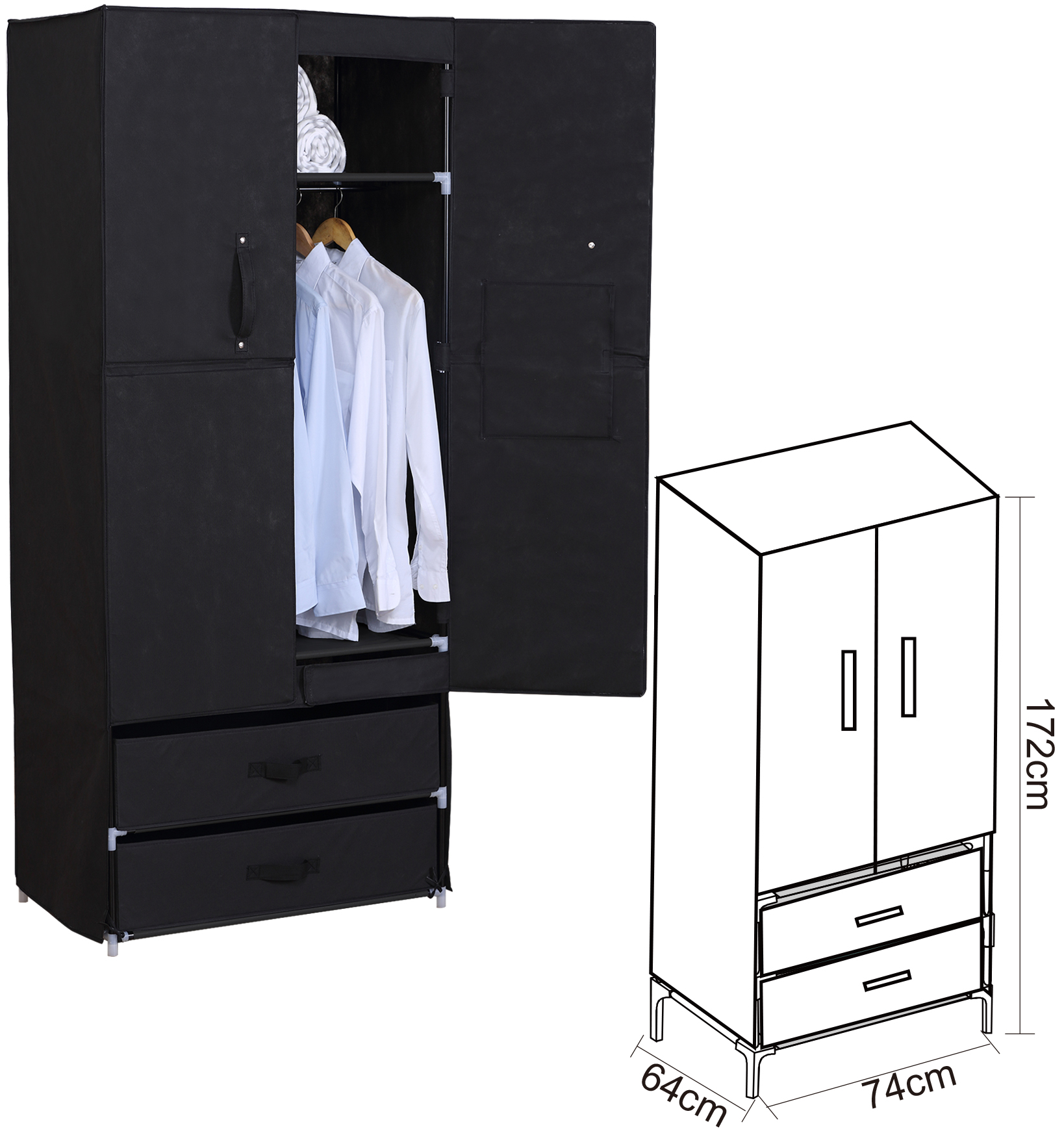faltschrank kleiderschrank garderobenschrank. Black Bedroom Furniture Sets. Home Design Ideas