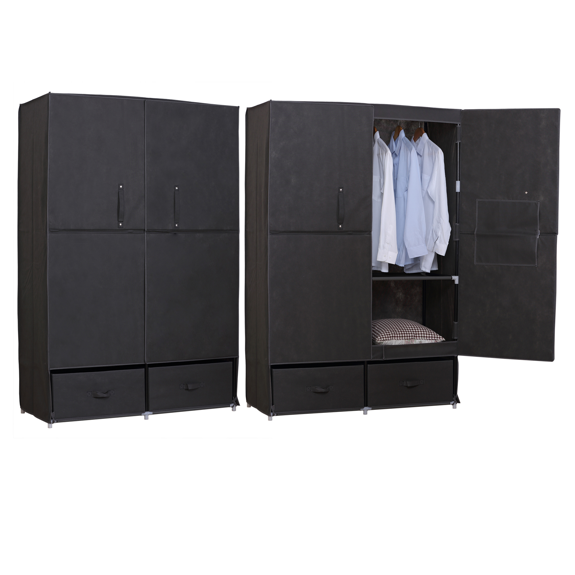 kleiderschrank garderobenschrank campingschrank faltschrank stoff xxl ss5023gr ebay. Black Bedroom Furniture Sets. Home Design Ideas