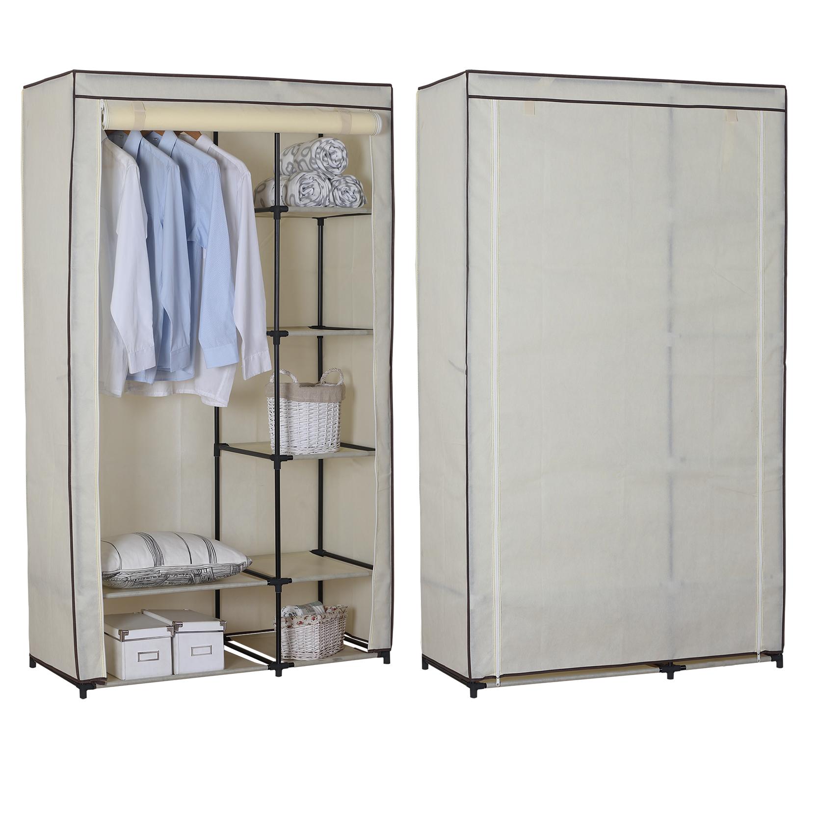kleiderschrank garderobenschrank campingschrank faltschrank stoff creme ss5026cm ebay. Black Bedroom Furniture Sets. Home Design Ideas